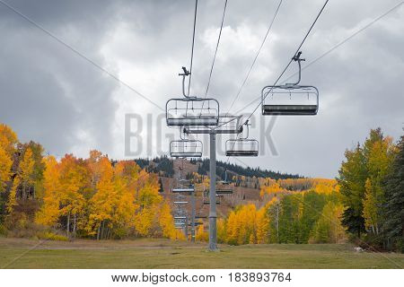 Cable Car at Snowmass Village with autumn leaves - Aspen
