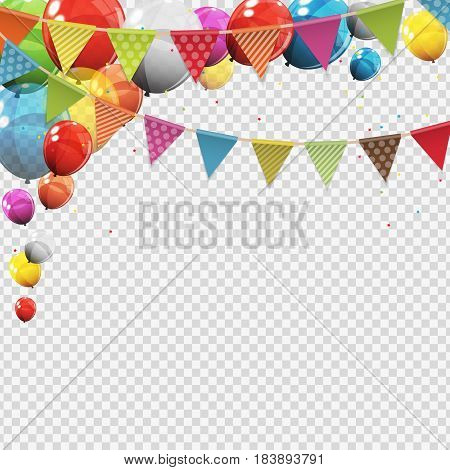 Group of Colour Glossy Helium Balloons with Blank Page Isolated on Transparent Background. Vector Illustration EPS10