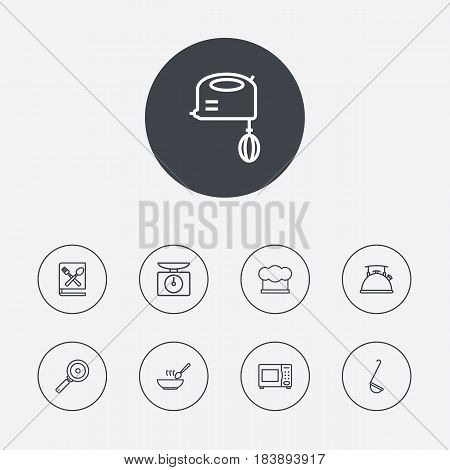 Set Of 9 Cooking Outline Icons Set.Collection Of Skillet, Ladle, Soup And Other Elements.