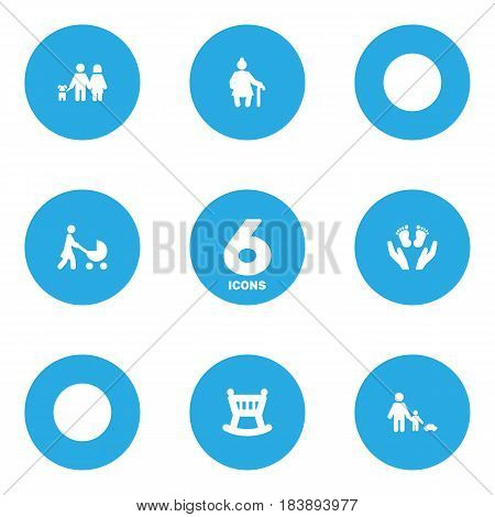 Set Of 6 Relatives Icons Set.Collection Of Cot, Perambulator, Father With Son And Other Elements.