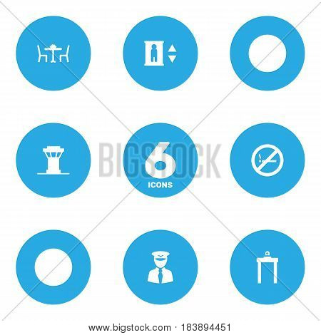 Set Of 6 Aircraft Icons Set.Collection Of Metal Detector, Forbidden, Aviator And Other Elements.