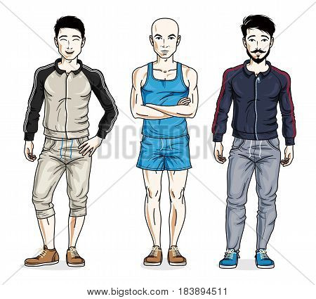 Confident Handsome Men Standing Wearing Stylish Sport Clothes. Vector Diverse People Illustrations S