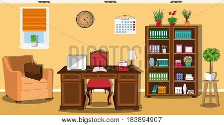 Stylish graphic home office interior design with furniture - chair, armchair, table, bookcase, shelves, lamp. Flat style vector illustration.