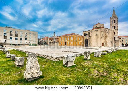 View at old ancient ruins in town Zadar, croatian historical places in Europe.