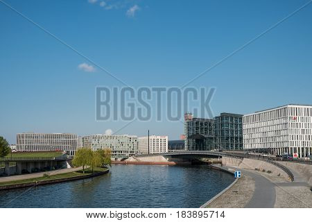 River Spree And The Exterior Of The Main  Train Station (hauptbahnhof) In Berlin