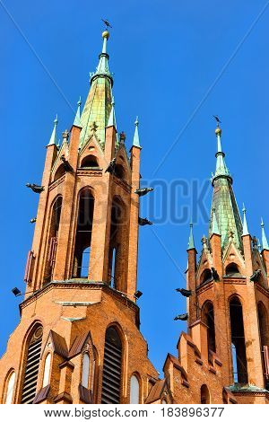 Cathedral Basilica of Assumption of Blessed Virgin Mary in Bialystok Poland. Gothic architecture of red brick - religious memorial and place of worship