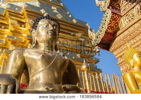 Buddha Statue In Wat Doi Suthep - Buddhist Temple In Chiang Mai, Thailand.