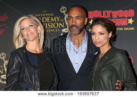 LOS ANGELES - APR 26:  Laura Wright, Donnell Turner, Brytni Sarpy at the NATAS Daytime Emmy Nominees Reception at the Hollywood Museum on April 26, 2017 in Los Angeles, CA