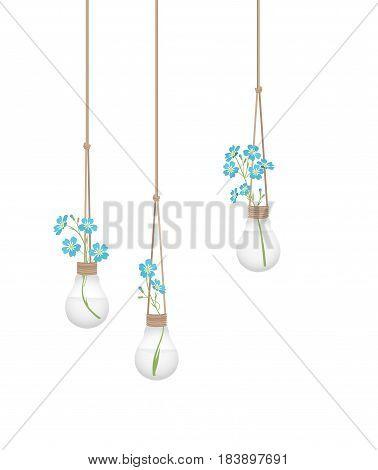 Vector illustration of a flower in a light bulb. Home Decor