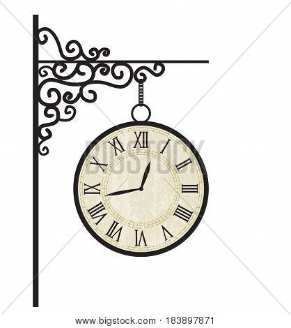 Vector illustration of street clock. Decoration clock on white background