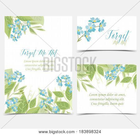 Set of card vector illustration of blue flowers. Branch of blue forget-me-not flowers and leaves