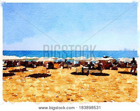 Digital watercolor painting of people sitting on the sandy beach under parasls in Barcelona Spain on a sunny day with the sea and horizon in the background and space for text. Sunbathers relaxing and enjoying the sunshine.