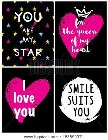 A set of I love you For the queen of my heart Smile suits You are my star phrase and crown.
