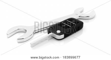 Car Key And A Spanner On White Background. 3D Illustration