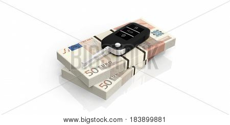 Car Key On Euros Banknotes - White Background. 3D Illustration