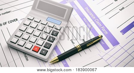 Insurance Claim Form And Calculator. 3D Illustration