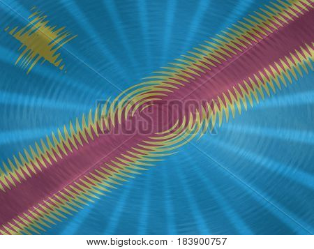 Democratic Republic of Congo flag background with ripples and rays illustration