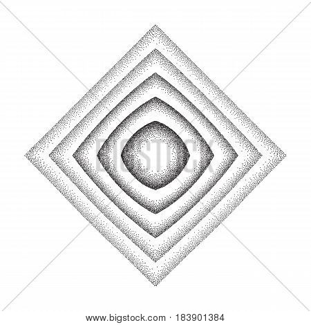 Vector illustration of rhombus shape background consist of black dots on white backdrop. Abstract gradient dotted geometric template with halftone effect