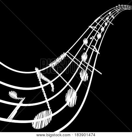 Musical background with clef and notes. Abstract vector illustration.