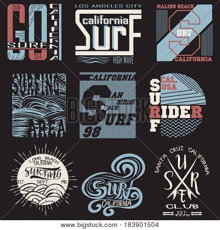 set summer surfing, typography surfing, t-shirts sport