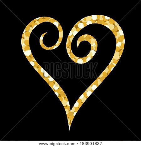 vector illustration with gold spangles in a shape of a heart over the black backdrop