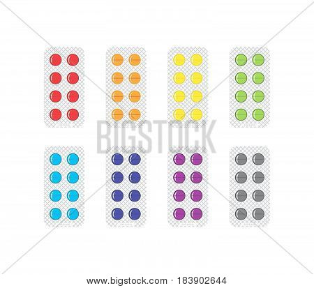 Set Of Medical Pills In Blisters Vector Icons Set