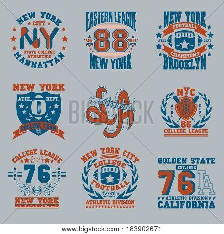 Sport Typography Graphics logo set, T-shirt Printing Design. Athletic original wear,  Print for sportswear apparel