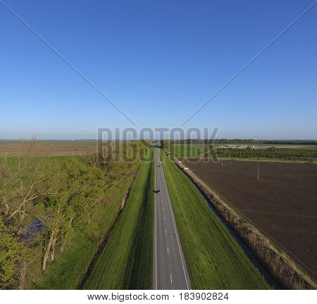 Road Route. A View From Above On A Two-lane Road In A Rural Area. Asphalt Road.