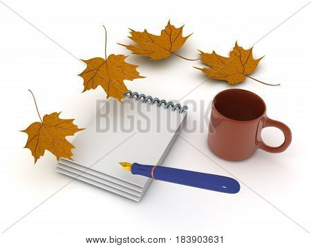3D illustration of a pen and notebook with autumn leaves around and a coffee cup. Image can be used to convey writing a journtal.