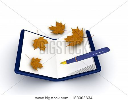 3D illustration of a pen and notebook with autumn leaves around Image can be used to convey writing a journal.
