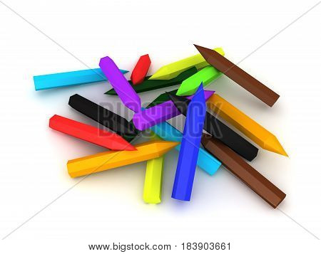 3D Illustration of a pile of colored pencils. Image can be used in a creative context