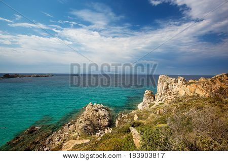Landscape near Rena Bianca the Beach of Santa Teresa North Sardinia Italy