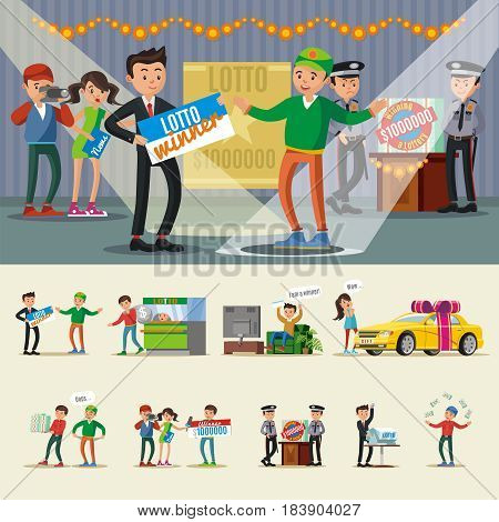 People winning lottery collection with happy lucky winners in different situations reporters and security isolated vector illustration