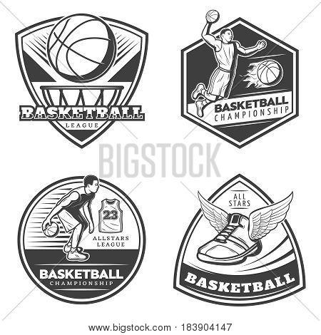Vintage basketball emblems set with players dribbling slam dunk ball in hoop and sneaker with wings isolated vector illustration