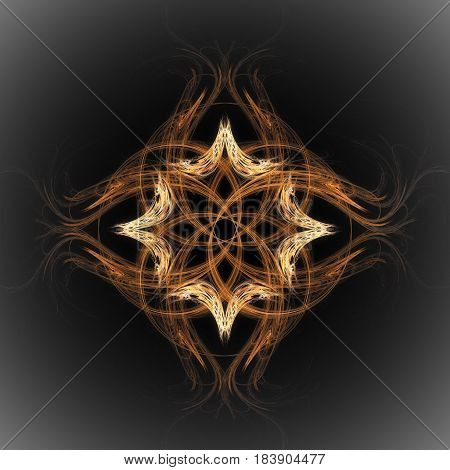 Abstract ornament of orange and yellow color from dashed lines in the form of a flower with shaggy petals with a vignette around