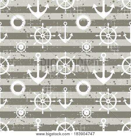 Vector Seamless Pattern Steering Wheel, Life Preserver, Anchor, Horizontal Lines Creative Geometric