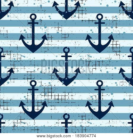 Vector Seamless Pattern Background With Anchor, Horizontal Lines Creative Geometric Vintage Backgrou