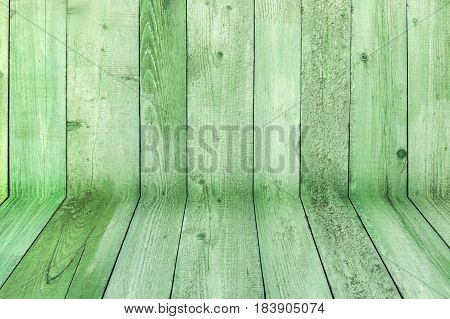 Natural Weathered Wooden Planks Background. Old Painted In Green Boards Panels