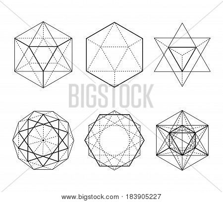 Hexagonal Shapes Set. Crystal Forms