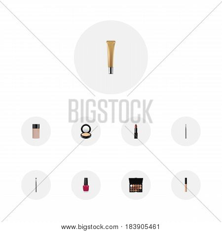 Realistic Brow Makeup Tool, Concealer, Multicolored Palette And Other Vector Elements. Set Of Maquillage Realistic Symbols Also Includes Eye, Polish, Contour Objects.