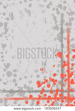 Vector Drawn Background With Frame, Border. Grunge Template With Splash, Spray Attrition, Cracks. Ol
