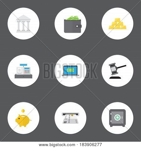 Flat Strongbox, Bank, Computer And Other Vector Elements. Set Of Business Flat Symbols Also Includes Auction, Atm, Piggy Objects.