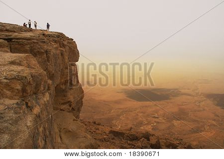 Cliff over the Ramon Crater in Negev Desert in Israel.