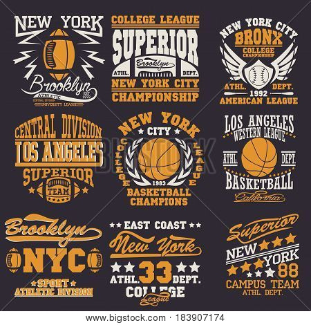 Sport Typography Graphics logo set, T-shirt Printing Design. Athletic original wear,  Print for sportswear apparel