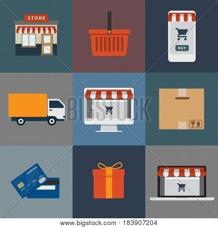 Set of online shop illustration. group of online shop object illustration, store building, shopping cart, e-commerce, delivery service, credit cart