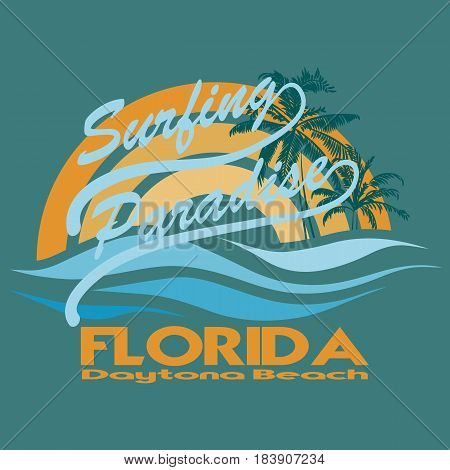 Florida surf typography, vintage t-shirt graphics,  Stock Vector Illustration.