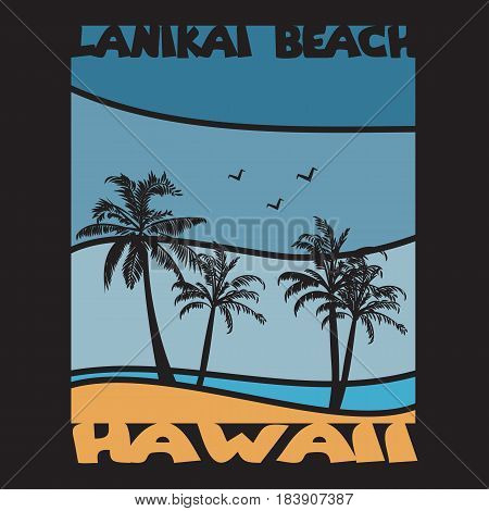 Hawaii surf typography,  t-shirt graphics, Abstract,  Stock Vector Illustration