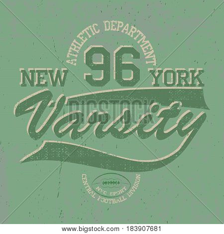 New York Varsity, american football, sports graphics for t-shirt