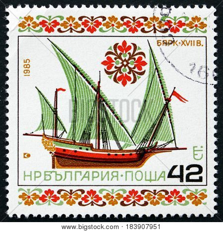 BULGARIA - CIRCA 1985: a stamp printed in Bulgaria shows Historic Sailing Ship 17 Century circa 1985