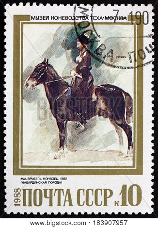 RUSSIA - CIRCA 1988: a stamp printed in Russia shows Konvoets a Kabardian 1882 Painting by M. A. Vrubel Russian Painter circa 1988